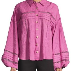 Free People Summer Stars Button Down Shirt M